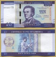 -- LIBERIA 10 DOLLARS 2016 AA Pnew UNC