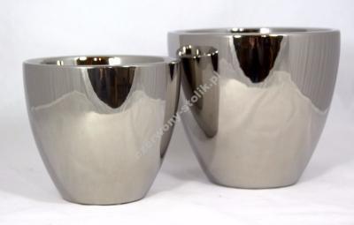 Osłonka Ceramiczna Na Donice Dużasrebrna 17cm 6186569636