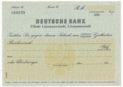 016. Czek, Łódź - Deutsche Bank
