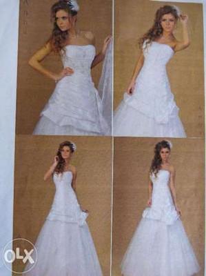 Suknia ślubna Krótka Długa Oryginalna 36 38 M 6995098206