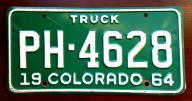 Colorado 1964 - tablica rejestracyjna USA
