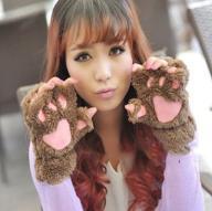 ciepłe rękawice zimowe łapki kota bez palców