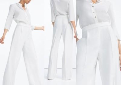 spodnie biale w kant zara