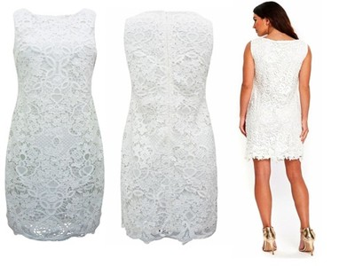 a5c8609e9f OUTLET elegancka sukienka 44 XXL UK16 koronka krem - 6867979063 ...