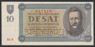 Słowacja - 10 koron - 1943 - stan bankowy UNC