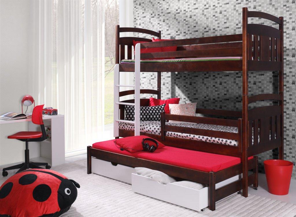 łóżko Piętrowe 3 Osobowe Igor Pod Materac 80x160