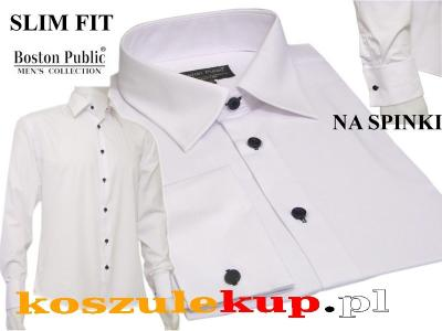 4647 Biała koszula męska Slim Fit na spinki 5010847113  BcxlU