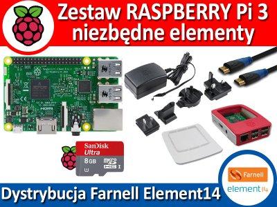 Zestaw Raspberry Pi 3 niezbędne elementy/ od ręki