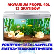 AKWARIUM 40L 40x25x40 PROFIL SREBRO+13gratisów