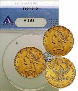 USA 10 dolarów 1901 Filadelfia ANACS AU55