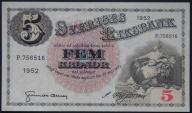 Szwecja - 5 koron - 1952 - stan 1/2