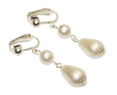 Klipsy perły gniecione krople białe
