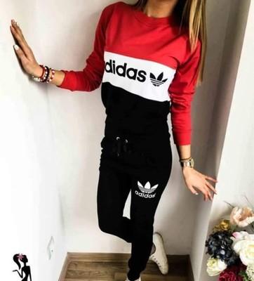 Dres Adidas damski czarno czerwony rozmiar M L XL