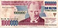 Turcja 1 000 000 Lira 1995 P-209a.3 Typ 2