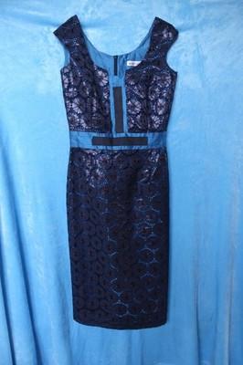 sukienka elegancka czarno błękitna