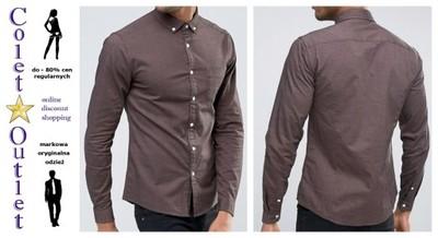 ka15 koszula męska brąz casual długi rękaw M/L