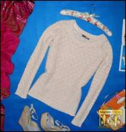 4900-12 ..ATMOSPHERE... AZUROWY SWETER BROKAT r.44