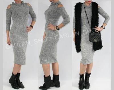 348dbed7f0 Sukienka szara melanż ołówkowa sexi ramiona S M - 6119692707 ...