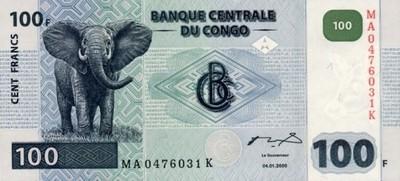 Kongo 100 Francs 2000 P-92 A UNC Kinshasa