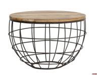 Stolik druciany Wire śr. 60xwys. 41 cm drewno