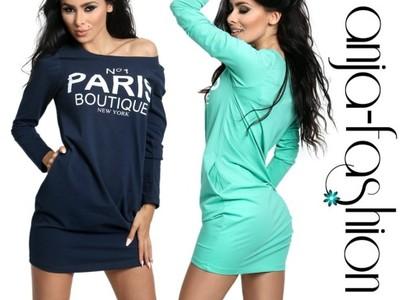 35bc4549bc Sukienka dresowa PARIS długi rękaw tunika tuba 673 - 6514250740 ...