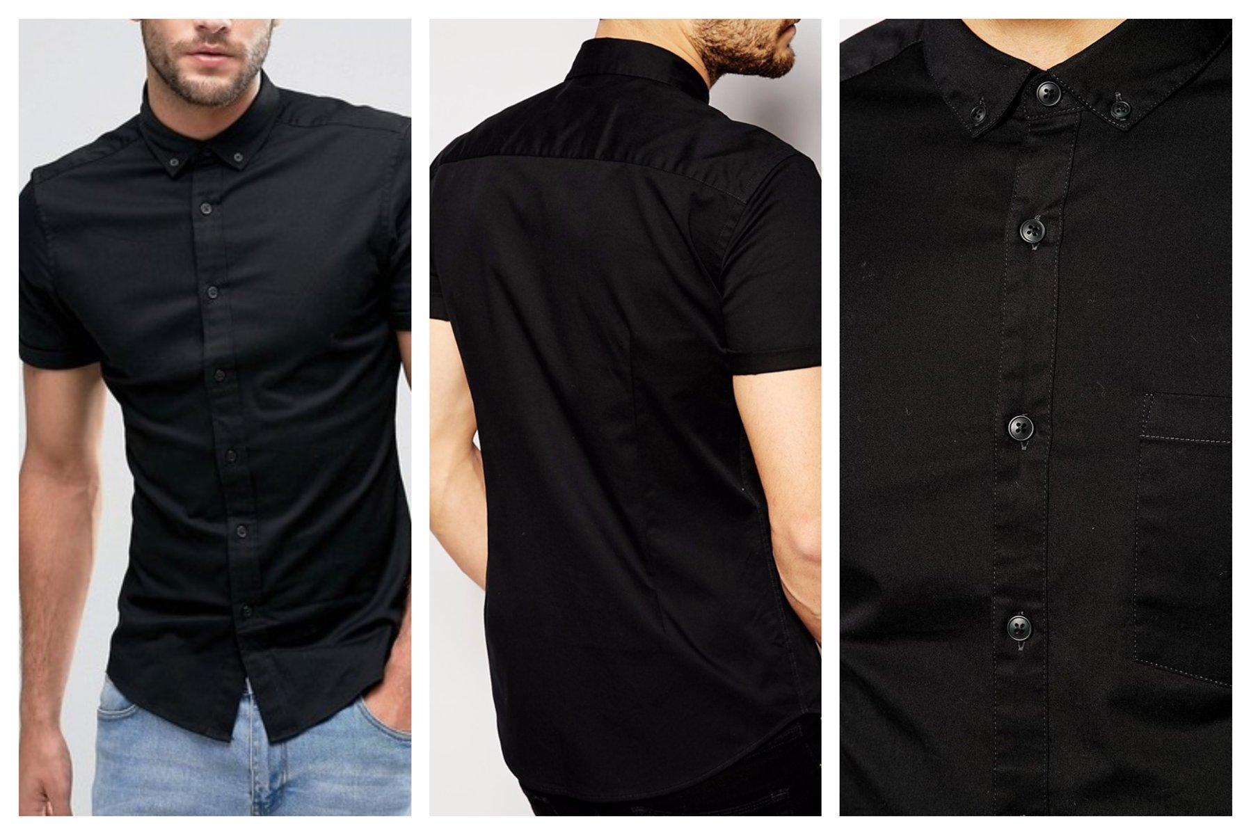 mo40 koszula czarna skinny krótki rękaw bawełna XL
