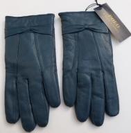 Rękawiczki skórzane RALPH LAUREN niebieskie SKÓRA