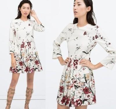 ZARA sukienka biała w kwiaty haft blog NOWA M