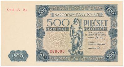 2179. 500 zł 1947 - Seria B4 - st.2/2+