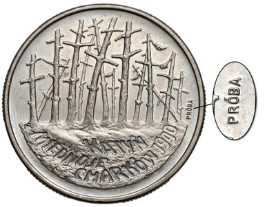 1014. Próba MIEDZIONIKIEL 2 zł 1995 Katyń RZADKOŚĆ