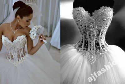 Suknia ślubna Sexy Gorset Perły Koraliki 3638 Już 6445901868