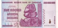 ZIMBABWE 500000000 Dollars 2008 P-82 UNC
