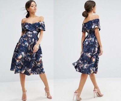 Sukienka ASOS MIDI HISZPANKA WESELE KWIATY BOHO 36
