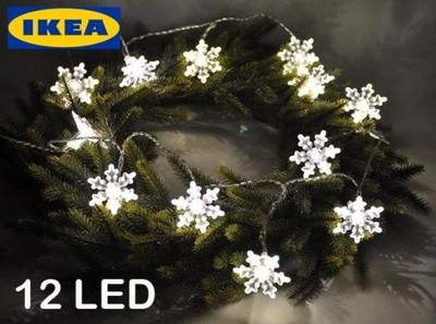 Ikea Lampki łańcuch śnieżynki 12 Led 37 M 6571600948