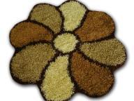 Tani Dywan Kwiatek Shaggy Brąz 180x180cm Wyprzedaż