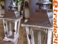 Latarnia Lampion Drewno BEŻ Lampiony 43x18x18cm