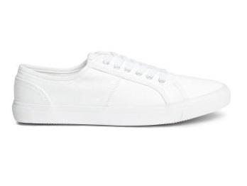 H&M HM trampki buty sneakersy białe bawełna 38