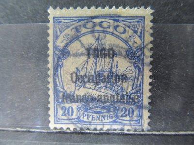 Togo kolonia niemiecka, kasowany znaczek z nadruk.