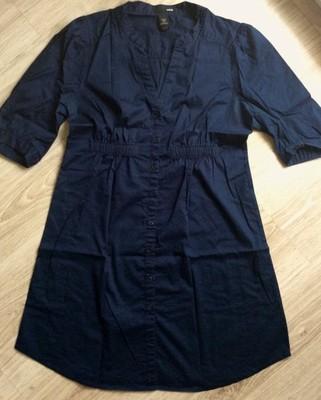 H&M szmizjerka sukienka koszulowa 40 L granat