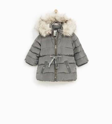 kurtka zara zimowa khaki dziewczynka