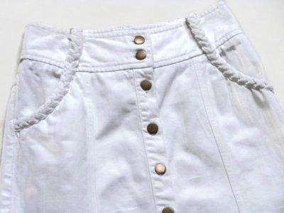 92023c86 TRAPEZOWA dżinsowa spódnica H&M 34 XS biała !! - 6425169937 ...