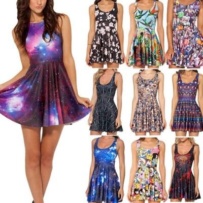 Letnie Kolorowe Sukienki Print Galaxy Nadruk 3d 6294375824 Oficjalne Archiwum Allegro