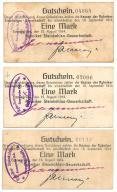 Śląsk Rybnik kopalnie węgla notgeldy 3 szt. 1914