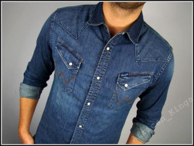 da9fd3051 WRANGLER BECKS BLUE koszula JEANSOWA SLIM FIT __ M - 3973101749 ...