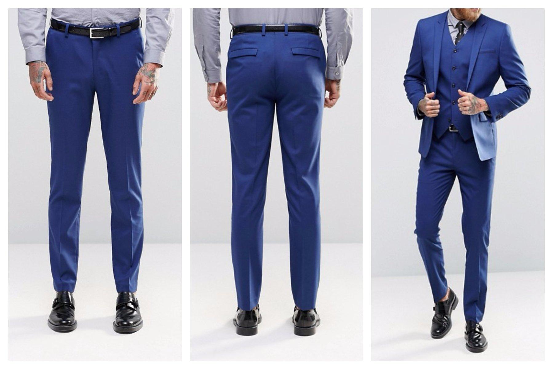 mo19 spodnie eleganckie niebieskie skinny W26 L30