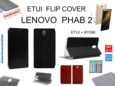 ETUI FLIP COVER + RYSIK | LENOVO PHAB 2