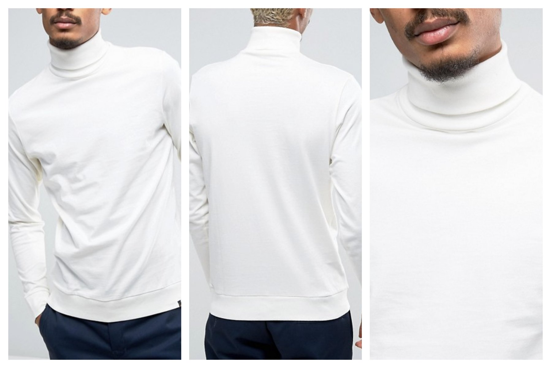 mn57 bluzka z długim rękawem golf biała bawełna M
