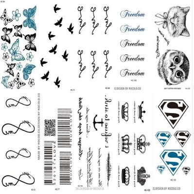 Tattoo Tatuaż Czarny Napisy Symbole 10szt 6930968894