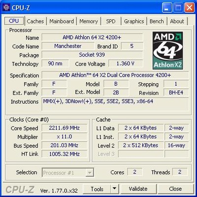 AMD Athlon64 X2 4200+ Manchester cache 1M s.939