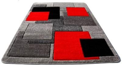 Dywany Fryz 3d Gruby 120x170 Szare Czerwone Grey